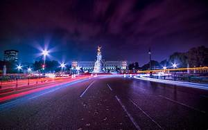 London, city, night, road, light lines, England Wallpaper ...