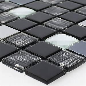 Mosaik Fliesen Schwarz : muster glas edelstahl mosaikfliesen selbstklebend schwarz silber ~ Eleganceandgraceweddings.com Haus und Dekorationen