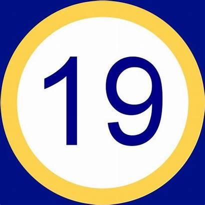 Number Nineteen Clipart Diecinueve Yellow Clip Quia