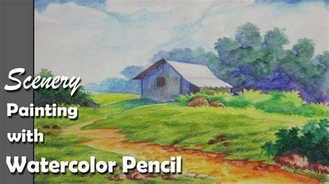 paint  scenery  watercolor pencil step