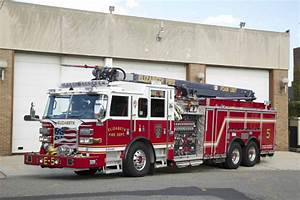 Pierce Fire Apparatus With Snozzle Aerial Device On Duty In Elizabeth  Nj  Fire Department
