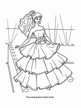 Coloring Evening Barbie Gown Dolls Comments sketch template