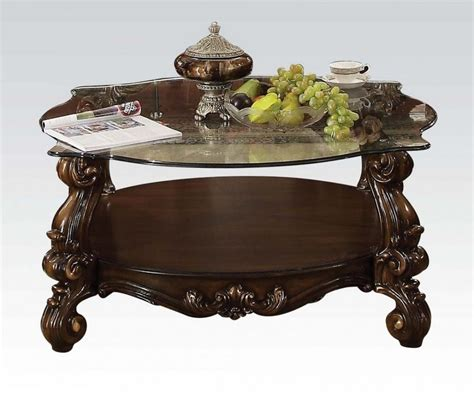 Stay updated about cherry wood coffee tables for sale. Versailles Cherry Oak Wood/Clear Glass Coffee Table by Acme