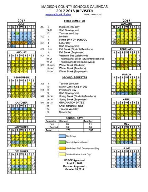 revised mcss calendar madison county schools