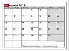 Calendario agosto 2019, Comunidad de Madrid