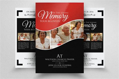 double sided memory funeral flyer flyer templates