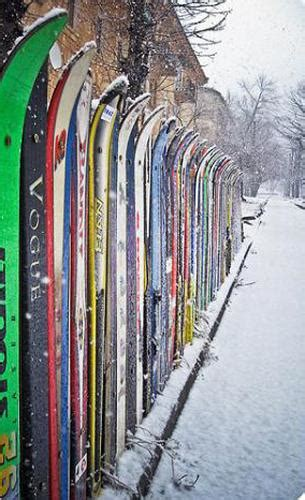 outdoor furniture  yard decorations recycling vintage skis