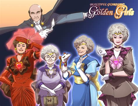 sailor moon  golden girls mashup art
