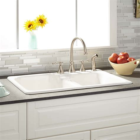 white drop in kitchen sink 33 quot elgin 60 40 offset bowl cast iron drop in 1763