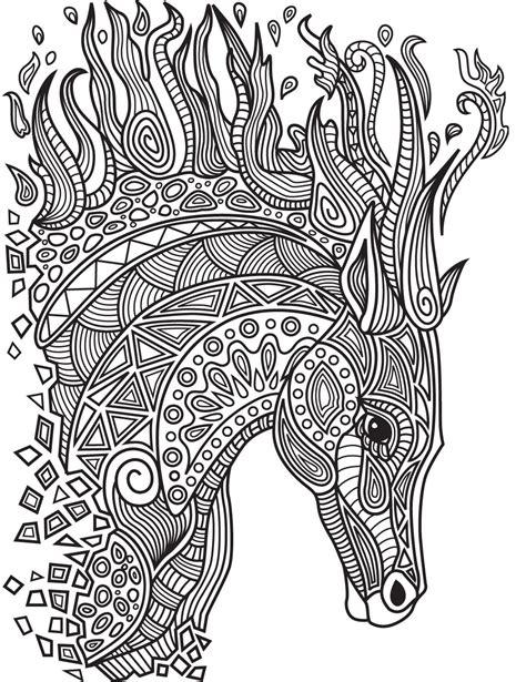 horses colorish coloring book app  adults mandala