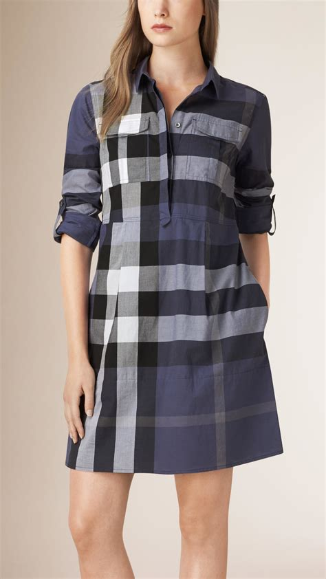 chagne color dress shirt burberry check cotton shirt dress in blue lyst