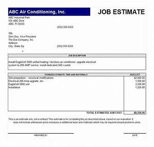 job estimate template job estimate form With job estimates templates