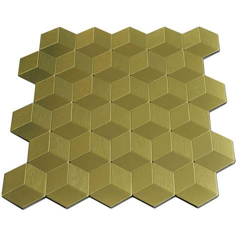 12x12in gold cube metal decorative tile peel n stick
