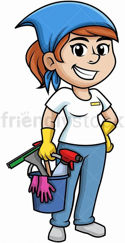 Cleaning Tools Woman Holding Cartoon Clipart Friendlystock