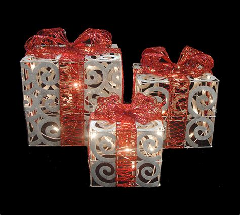 set of 3 sparkling white swirl gift boxes lighted