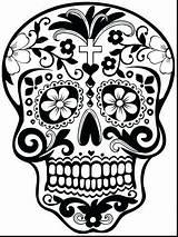 Skull Coloring Sugar Crossbones Pdf Getcolorings Skulls Getdrawings Colorings sketch template
