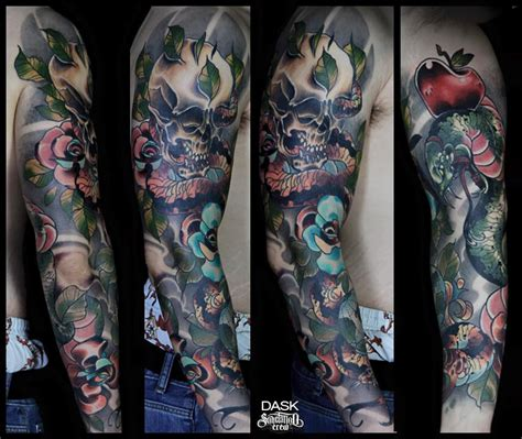 neotraditional color full sleeve tattoo  dask sake