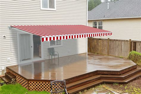 retractable patio awning feet red white striped aleko