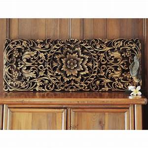 Floral carved wooden wall art panel siam sawadee