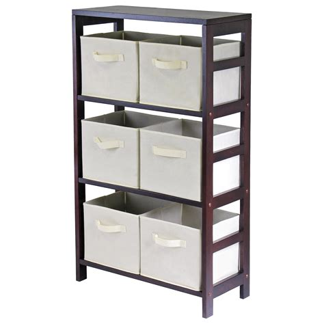 storage bookcase with baskets winsome capri 3 section m storage shelf bookcase with 6