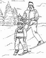 Coloring Skiing Man Teaching Son sketch template