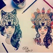 Good Girl Tattoos Tumblr by Illustration Art Girls Wolf Tattoo Feathers Leopard Spirit Hood Traditional R