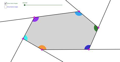 hexagon interior exterior angle sum theorems geogebra