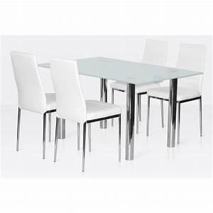 ensemble salle a manger 4 chaises table en verre blanc With table salle a manger en verre