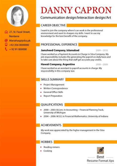 Presentation Cv 2016 by In This Presentation Presents The Best Resume Format 2016