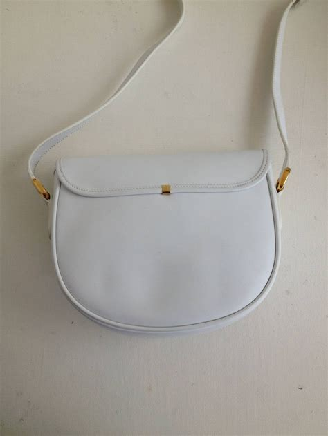 gucci white leather vintage crossbody saddle bag  stdibs