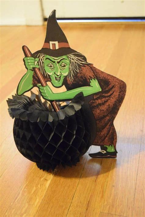 rare vintage beistle halloween witch wcauldron accordian