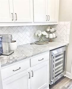 Wine fridge, white cabinets, grey counters | Home Sweet ...