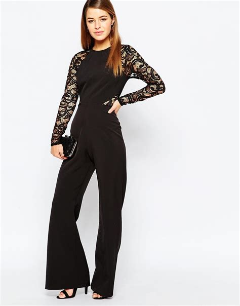 black jumpsuit with sleeves black jumpsuit with lace sleeves fashion ql