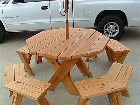 octagon picnic table built around a tree search