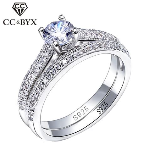 cc 925 silver rings for women simple design double stackable fashion jewelry bridal sets wedding
