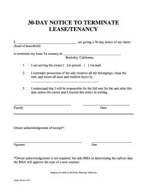Notice To End Tenancy Template by Notice Of Termination Of Lease Fill Printable