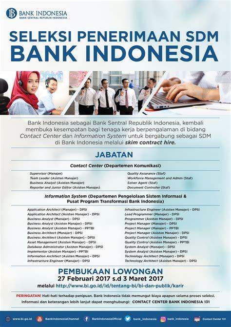 seleksi penerimaan sdm bank indonesia bank sentral