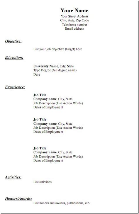 Free Usable Resume Templates by Pin Oleh Jobresume Di Resume Career Termplate Free