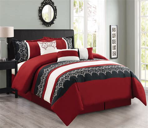7 burgundy black white comforter set - Black And Burgundy Comforter Set