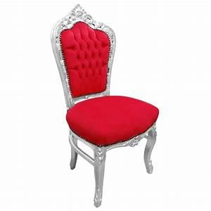 Chaise Style Baroque : chaise de style baroque rococo tissu velours rouge et bois argent ~ Teatrodelosmanantiales.com Idées de Décoration