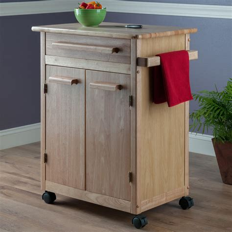 kitchen carts with storage winsome wood single drawer storage cart 6506
