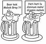 Beer Coloring Mug Pages Funny Indonesian Drawing Template sketch template