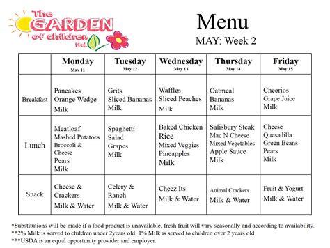 weekly menu the garden of children