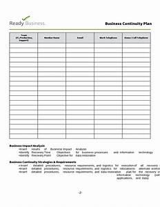 simple business continuity plan template free download With business resumption plan template