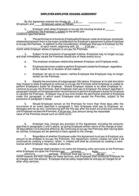 employer employee housing agreement printable