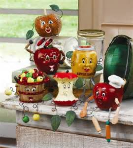 6 pc apple decor kitchen shelf sitters figurines home