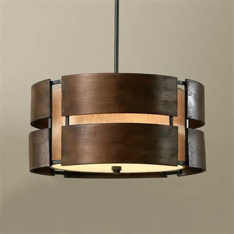 drum shade ceiling light walnut 3 light drum chandelier wood shade pendant l