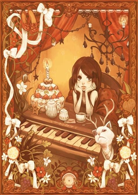 anime birthday cake cartoon cat clock drawing image