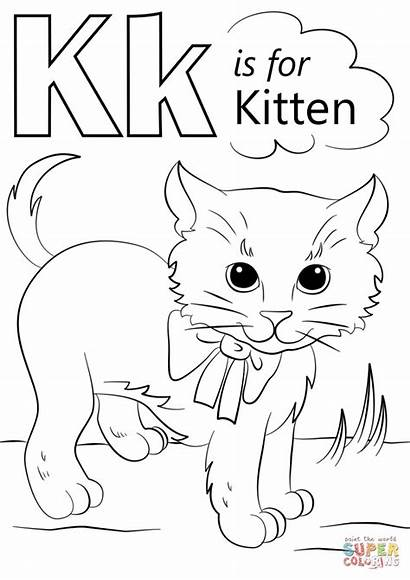 Letter Coloring Kitten Pages Alphabet Letters Printable