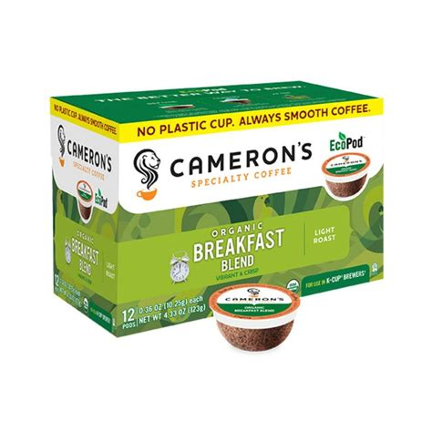 Buying an organic coffee has a few components to it. Cameron's Organic Breakfast Blend Single-Serve Eco Coffee ...